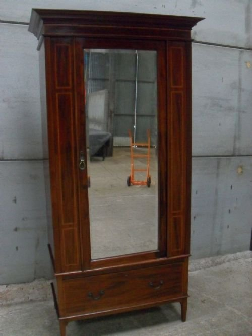 edwardian mahogany and satin inlaid bevell mirror door wardrobe