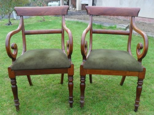 pair of georgian mahogany bar back carver open armchairs