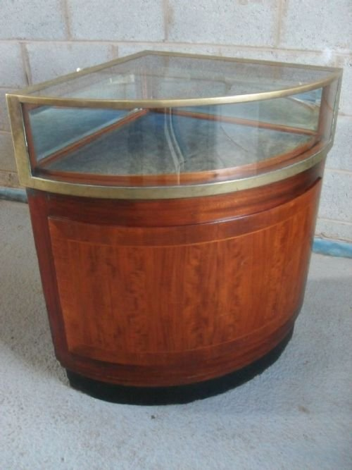 quality victorian mahogany and brass corner display cabinet