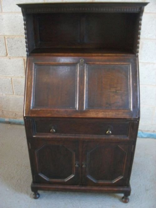 unusual edwardian oak bureau bookcase cabinet
