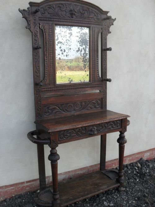 victorian carved oak bevel mirror hall coathatstick stand