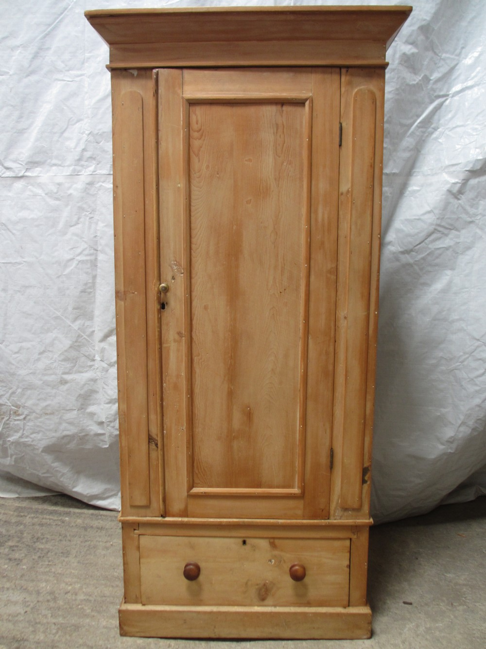 victorian pine single door wardrobe with drawer under. Black Bedroom Furniture Sets. Home Design Ideas