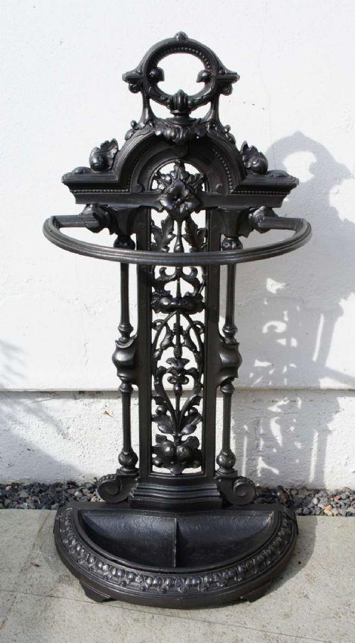 victorian circa 1870 cast iron decorative umbrella stick stand refurbished