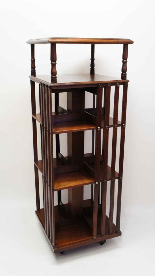 edwardian 4 tier walnut revolving bookcase