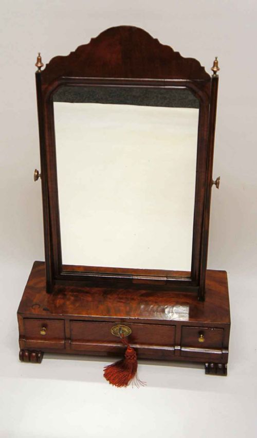 regency mahogany 3 drawer dressing table mirror