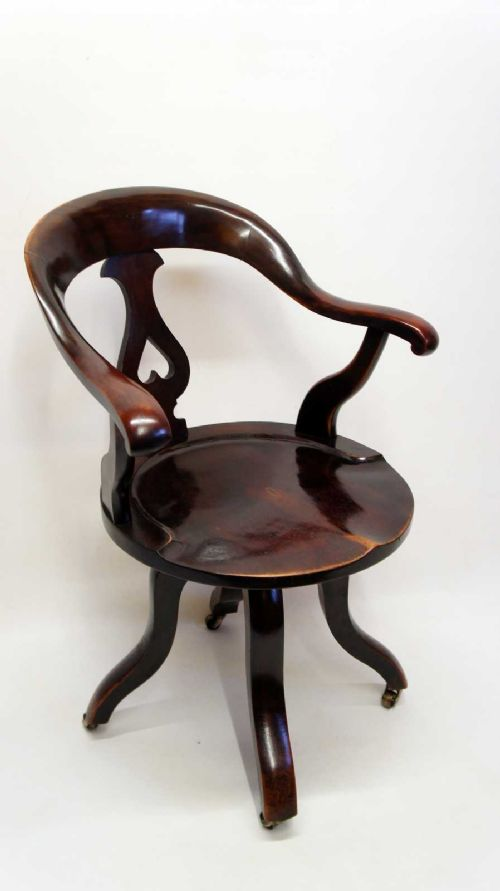victorian mahogany swivel desk or office chair