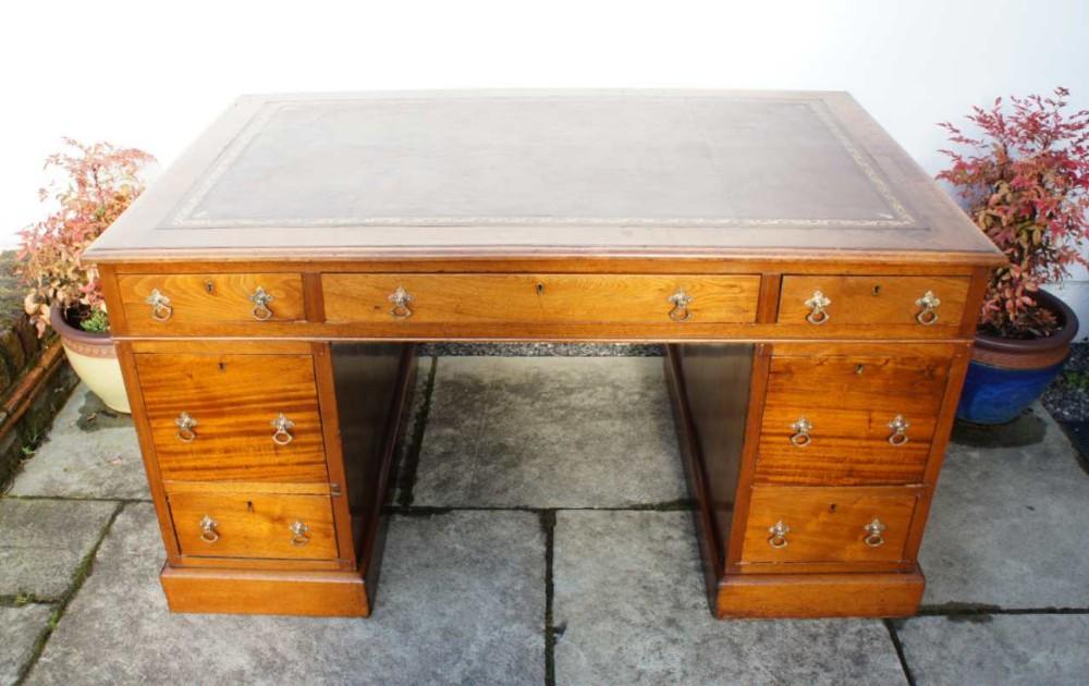large victorian mahogany 7 drawer pedestal desk leather top refurbished