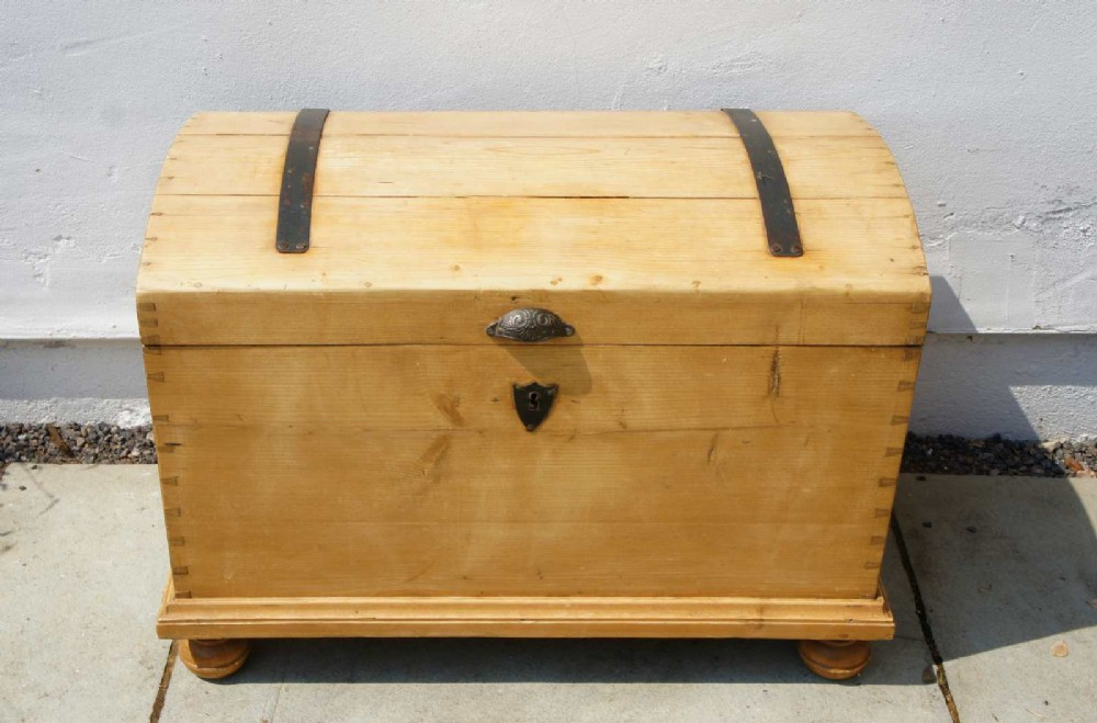 19th century continental pine dome top trunk