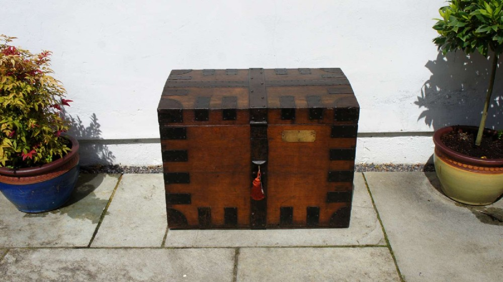 victorian oak steel bound silver chest campaign chest with provenance