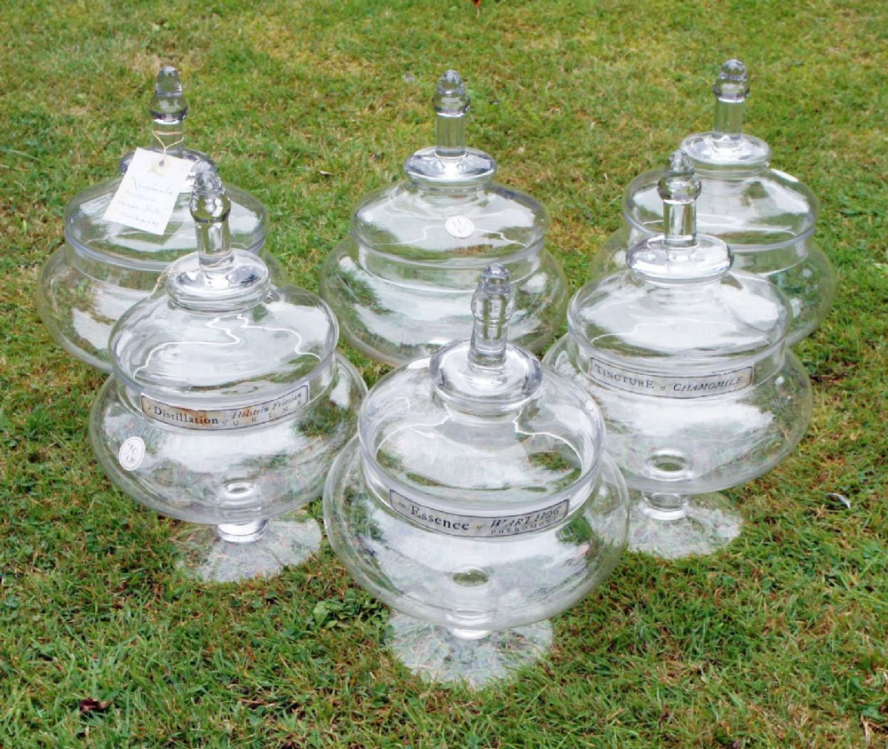 six large hand blown glass victorian apothecary jars with labels dated 1873