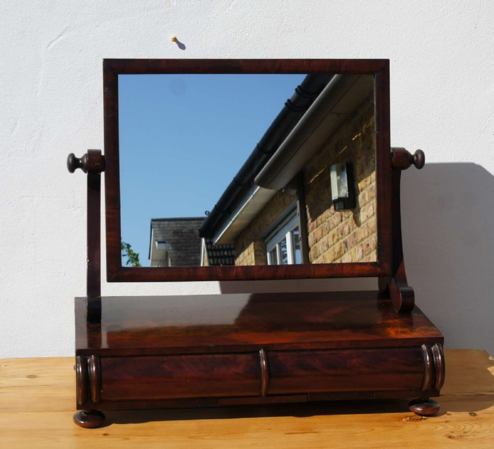 early victorian walnut top dressing table swing mirror with drawers
