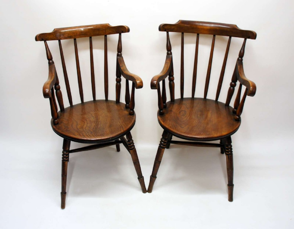 pair of early 20th c elm beech windsor penny armchairs