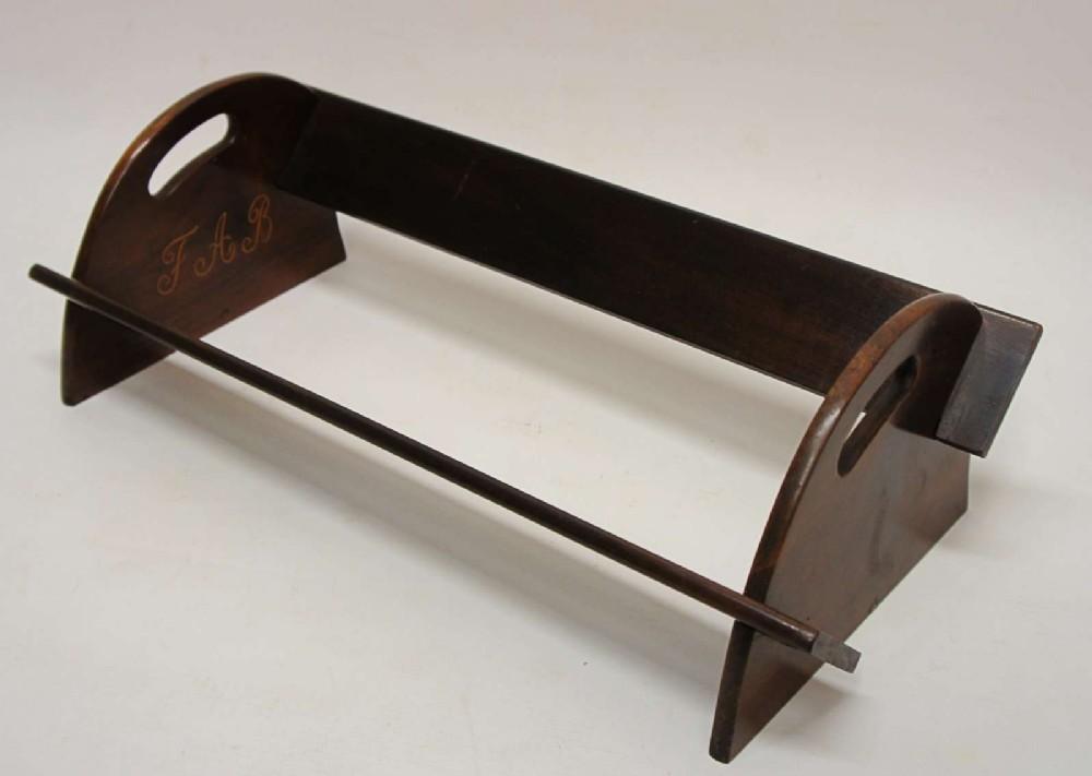 victorian walnut desk top book rack dated 1899