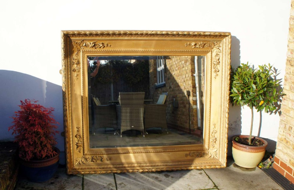 very large deep framed victorian giltwood gesso overmantle mirror