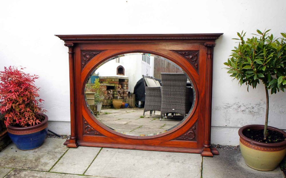 large victorian ornate carved mahogany overmantle mirror