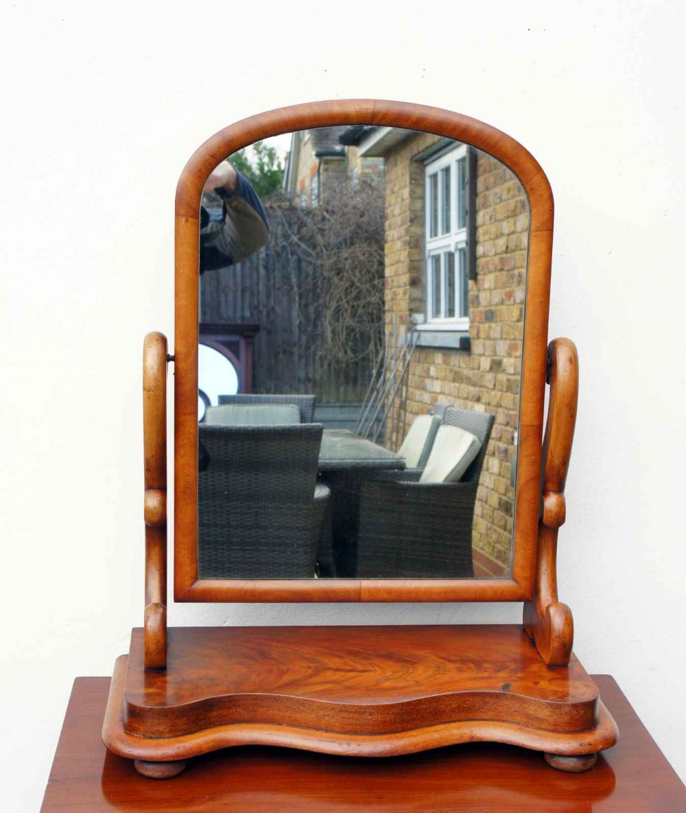 large victorian mahogany serpentine fronted dressing table mirror