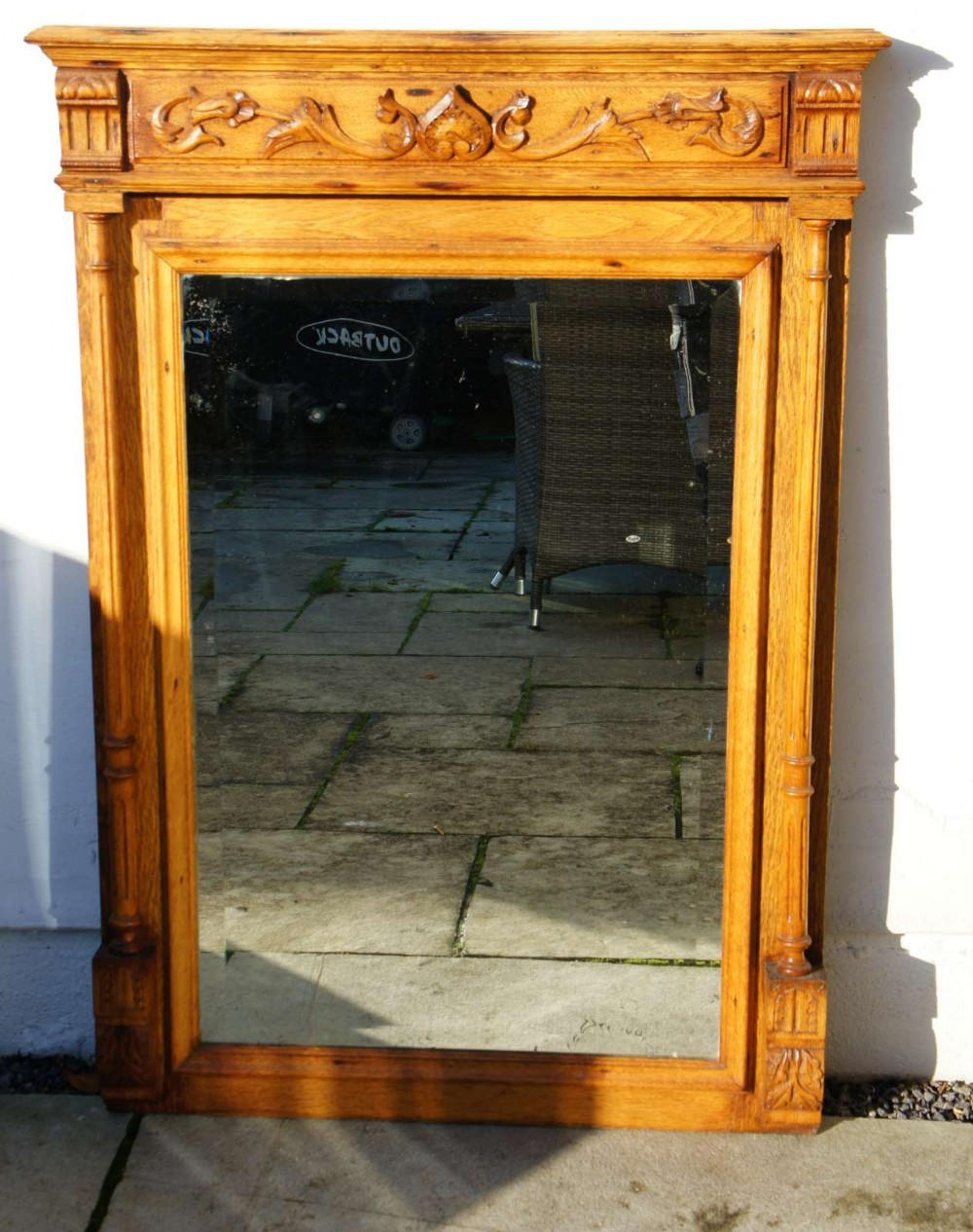 large early 20th c carved oak overmantle mirror