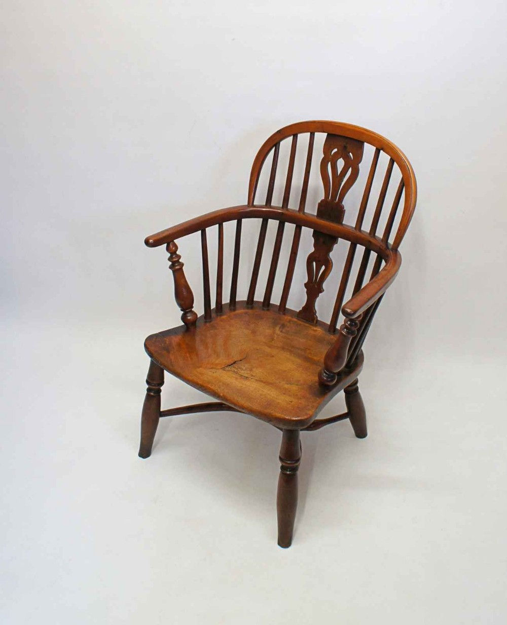 childs low back windsor armchair in yew wood elm nottingham circa 1840