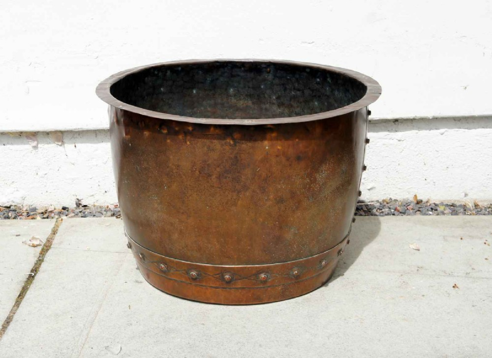 large late victorian studded copper fireside log bucket or planter