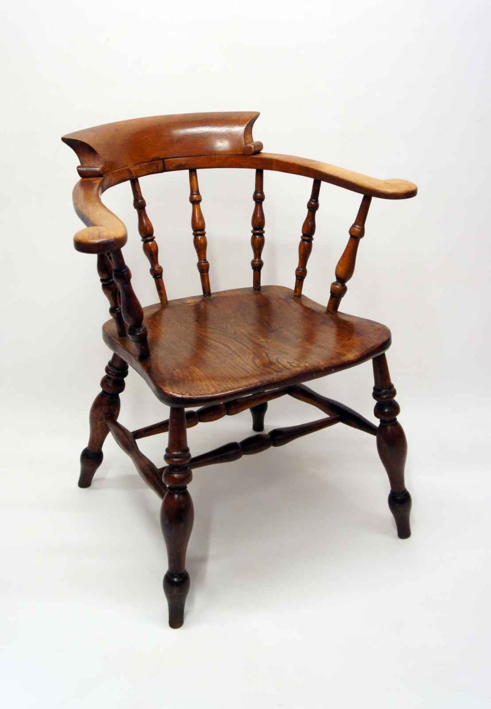 victorian smokers bow or captains chair elmbeech large seat wide arms