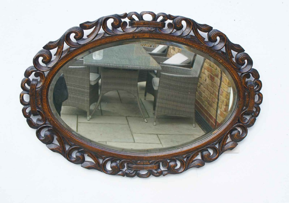 early 20th carolean style carved oak overmantle mirror