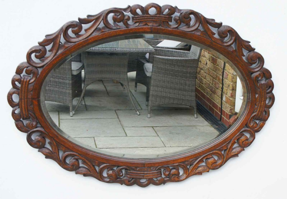 early 20th carolean style carved oak overmantle mirror chestnut