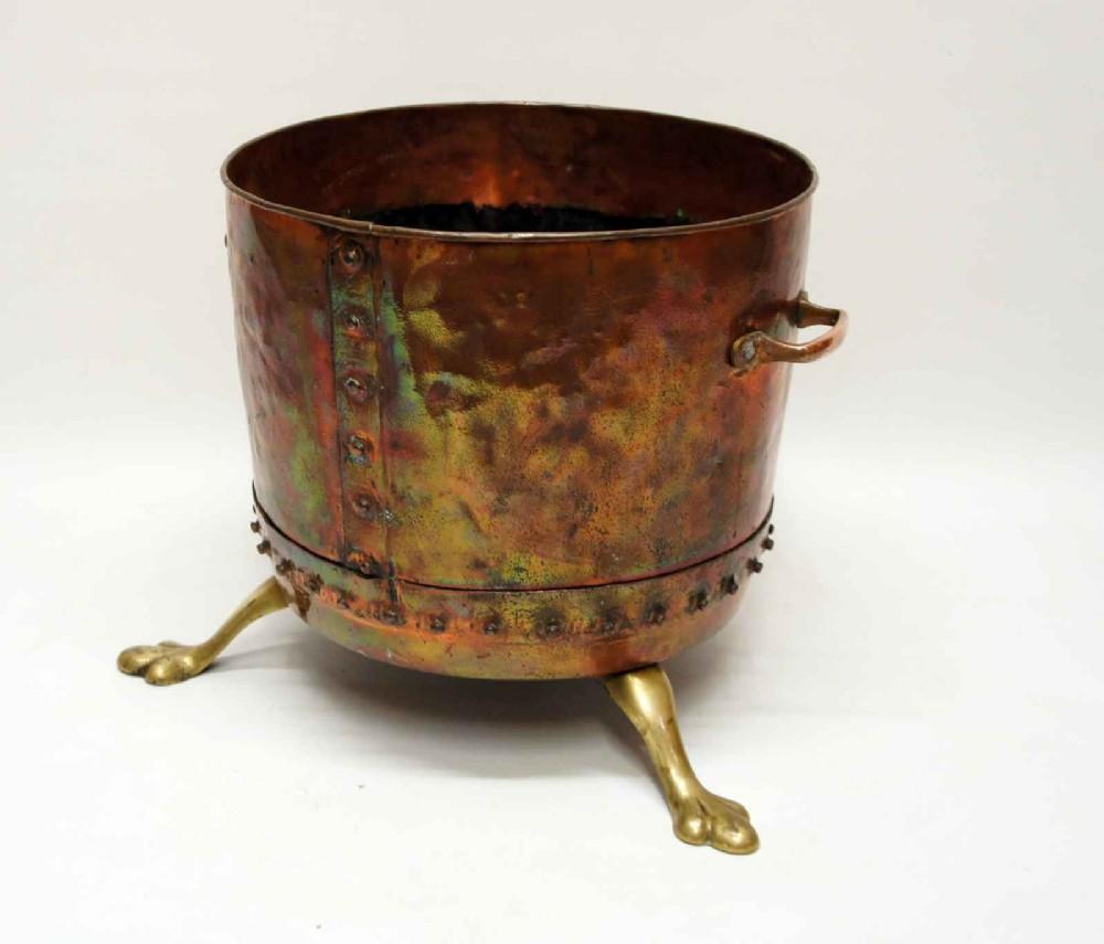 large victorian studded copper fireside log bucket or planter on brass feet
