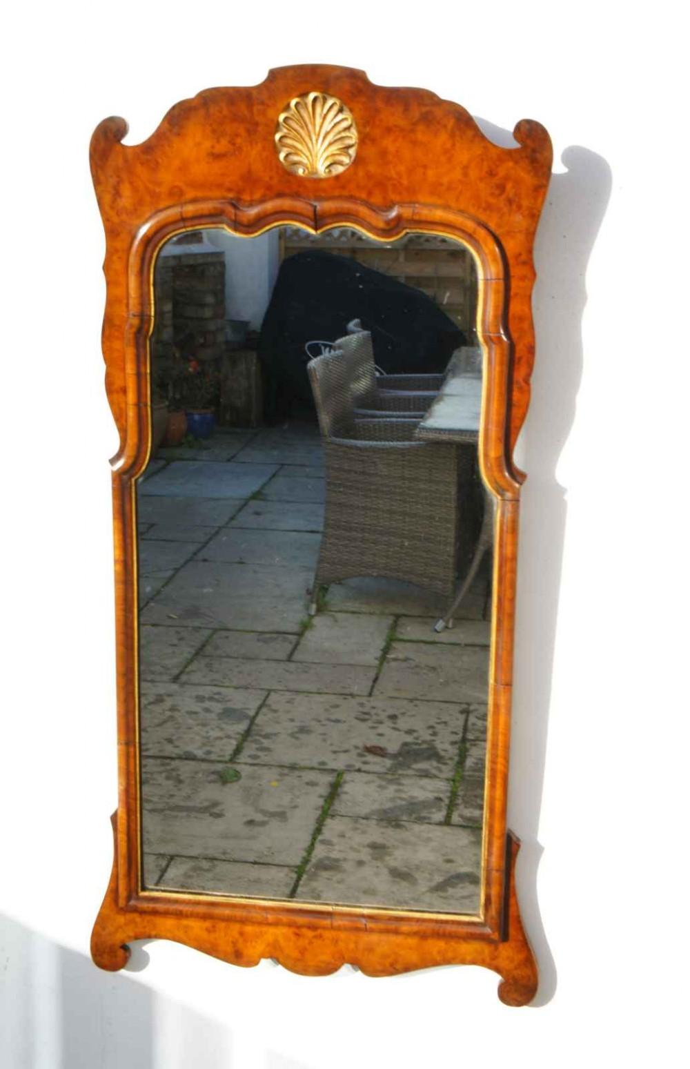 victorian queen anne style burr walnut pier mirror