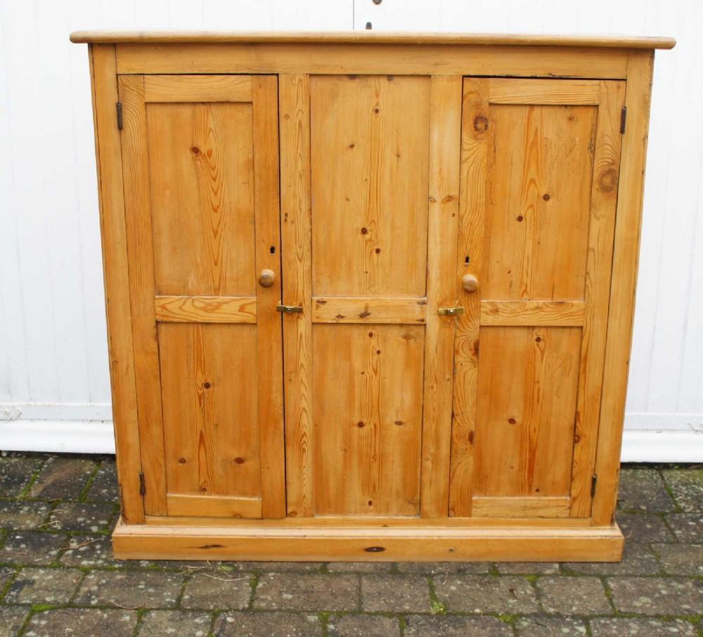 victorian pine hall storage book cupboard refurbished