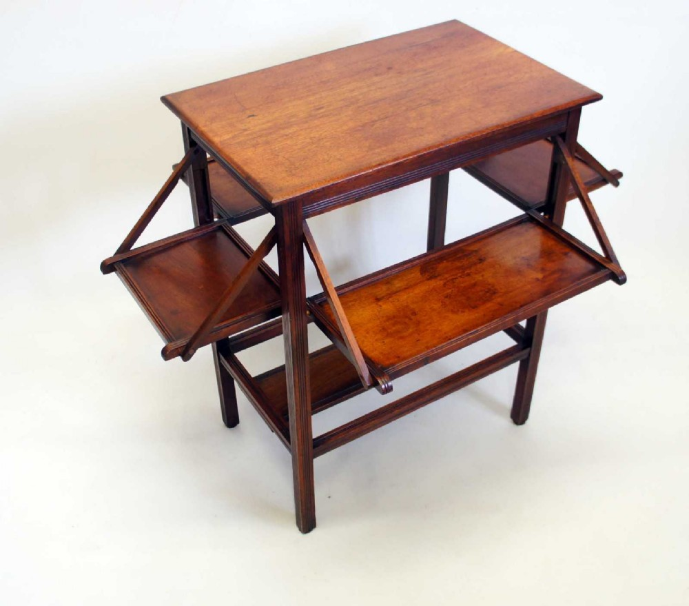 edwardian walnut campaign inspired tea table with folding sides