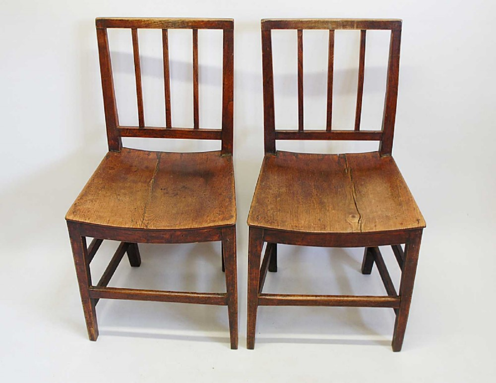 pair of early victorian oak country chairs or vernacular chairs