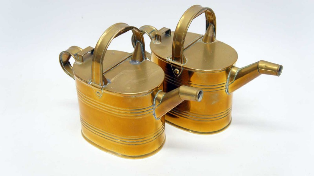 pair of victorian brass hot waterwatering cans 4 pint