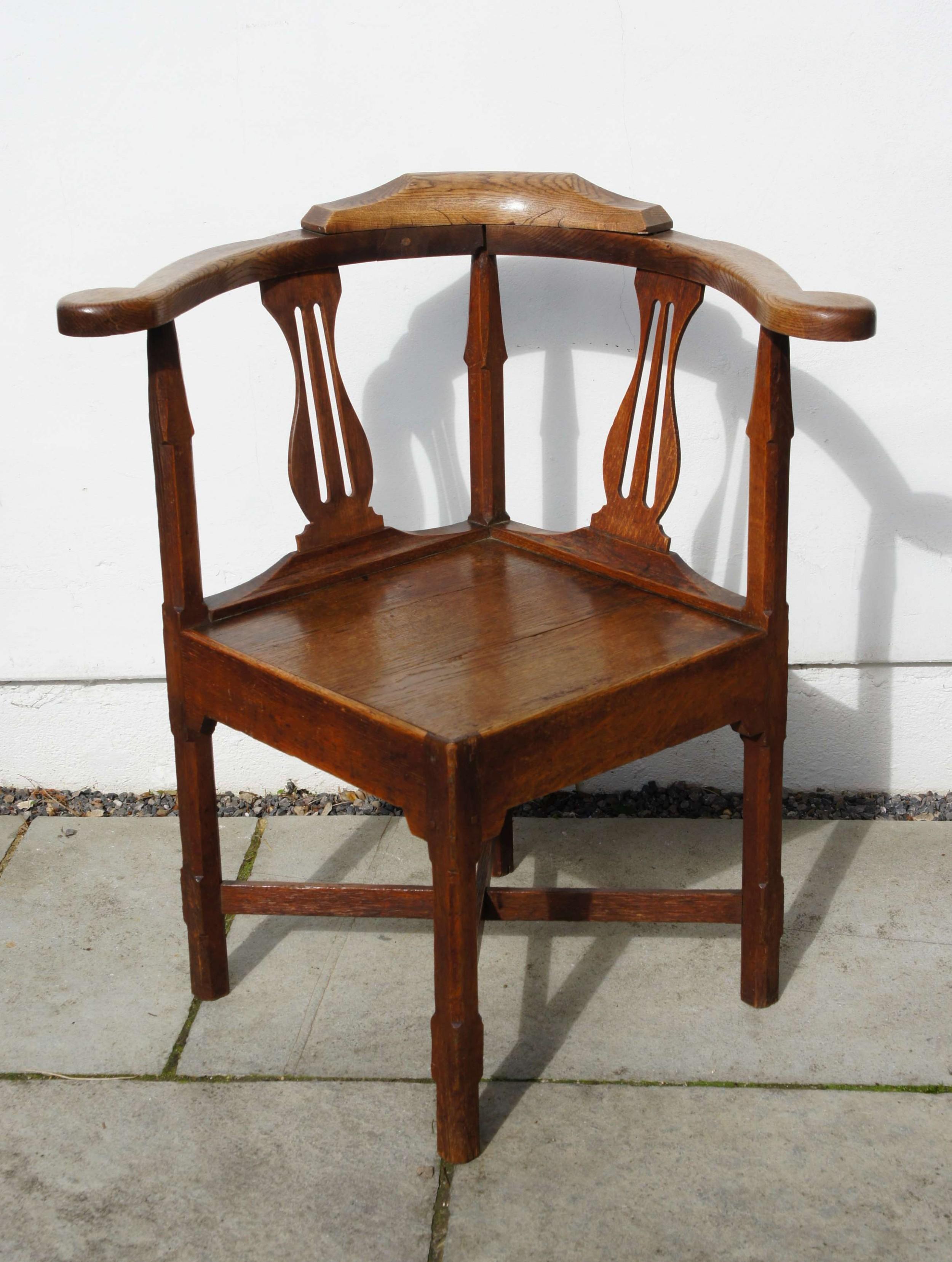georgian oak country vernacular corner chair
