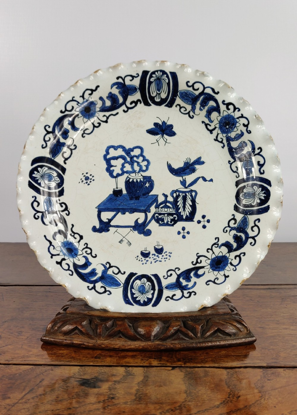 a late 17th early 18th century delft stand