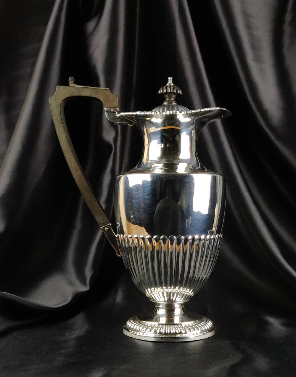an edwardian silver coffee pot made by elkington co