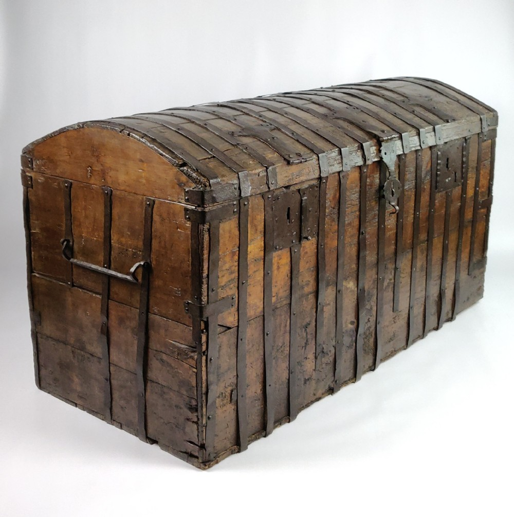 a large early 17th century iron bound chest